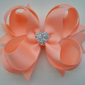 Peach Hair Bow with Sparkly Heart~ Peach Stacked Boutique Hair Bow~ Gift for Her~ Gift for Girl~ Photo Prop~ Formal Hair Bow~ Peach Bow
