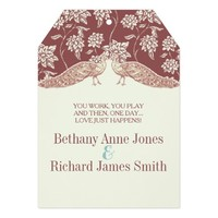 MARSALA AND IVORY VINTAGE PEACOCK Wedding Invit 5x7 Paper Invitation Card