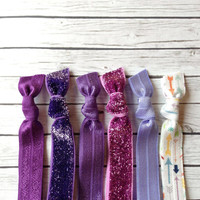 Purple & Orchid Glitter and Print Hair Ties or Headbands