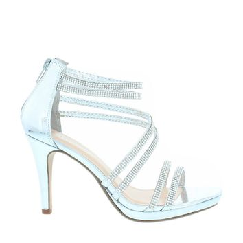 Rhinestone Strappy Party Heel (SILVER)
