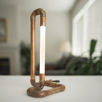 Copper Pipe Lamp • LED • Copper Lamp • Copper Pipe • Desk Lamp • Accent Lighting • Pipe Light • LED • Artistic Lamp