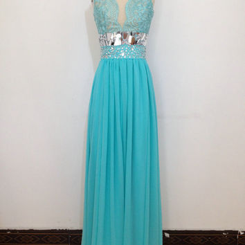 Lace Tiffany Blue Bridesmaid Dress Long Prom