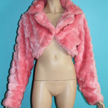 Pink Cropped Faux Fur Jacket