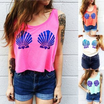 ESBONS Fashion Casual Shell Print Round Neck Sleeveless Vest T-shirt Crop Top