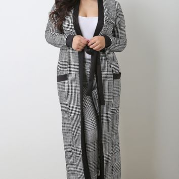 Checkered Houndstooth Cardigan with Pants Set