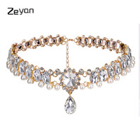 8 Colors Boho Collar Choker Water Drop Crystal Beads Choker Necklace&pendant Charm Vintage Statement Beads Neck Jewelry ZYJL003