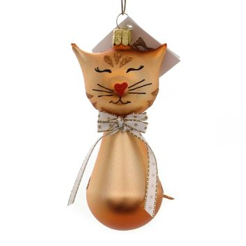 Golden Bell Collection BROWN KITTY W/BOW TIE Glass Christmas Ornament Cat An471