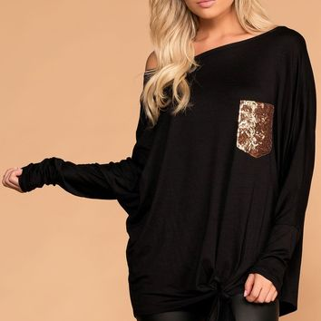Heart Of Gold Black Tie-Front Sequin Pocket Top