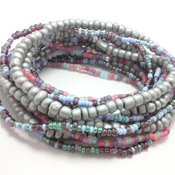 Seed bead wrap stretch bracelets, stacking, beaded, boho anklet, bohemian, stretchy stackable multi strand, silver pink purple blue