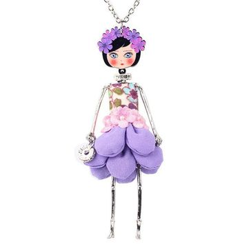 Flower Doll Necklace Statement  Dress Handmade French Doll Pendant  Alloy Girl Jewelry