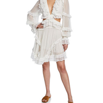 Zimmermann Suraya Cutout Ruffle Mini Dress | Neiman Marcus