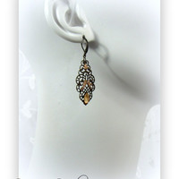 Vintage Filigree Drop Earrings with Bronze Rhinestone accents
