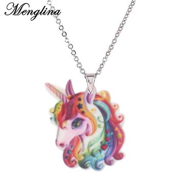Menglina Cute Acrylic Cartoon Colorful Horse Necklaces For Lovely Girls Resin Horse Charm Pendant Necklace Chokers Gifts Party