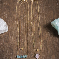 MOON & CRYSTAL - Necklace Set - Rose Quartz, Blue Apatite, Simple Layering, Raw Gemstone Jewelry, Dainty Gold Chain, Boho Chic,Gifts for her