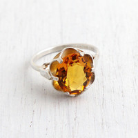 Vintage Citrine Orange Yellow Glass Stone Ring - Sterling Silver Signed Sarah Coventry Adjustable Cocktail Jewelry / November Birthstone