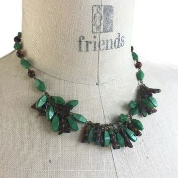 "Vintage German Pressed Glass Bead Bib Necklace 14"", Chunky Choker Necklace, Green and Amber Beads, Vintage Art Glass Jewelry Glass and Brass"