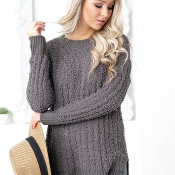 Popcorn Side Slit Sweater Top | Mid Grey