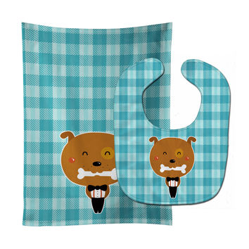 Dog in Tuxedo Baby Bib & Burp Cloth BB6737STBU