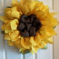 Sunflower Burlap Wreath, Front Door Wreaths, Summer Wreaths, Sunflower Wreaths