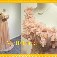 2015 One shoulder Chiffon Coral Cheap Bridesmaid Dresses Long Evening Party Formal Dress Gowns