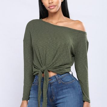 Come Together Front Tie Top - Olive