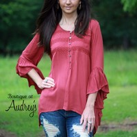 BLACK FRIDAY SPECIAL She and Sky Rust High Low Blouse