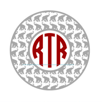 Elephant Monogram Decal - 3 INCH -Custom Size by Request