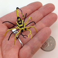 "Miniature Decorative Scorpion Wire Sculpture - Yellow & Black - Approx 1.5"" x 1.75"" x 1.25"""