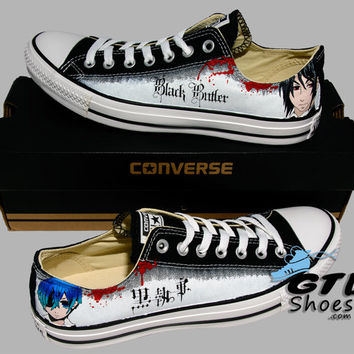 Hand Painted Converse Lo. Black Butler. Kuroshitsuji. Anime. Cartoon. Sebastian. Ciel. Handpainted shoes.
