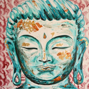 Turquoise Buddha with Red Lace Original Oil Painting