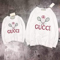 """Gucci"" Women Badminton Racket All-match Stripe Fashion Letter Logo Embroidery Long Sleeve Sweater Tops"