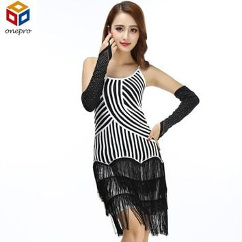 Flapper Girl Party Costumes Striped 3 Layered Fringe O Neck Backless Strap Dress Latin Dance Performance Women Dress