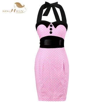 Womens Elegant 50s Vintage Dresses Polka Dot Retro Rockabilly Party Work Office Sheath Bodycon Pencil Dress VD244
