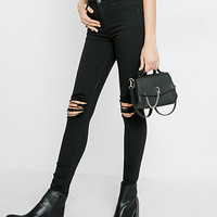 petite black high waisted distressed knee jean legging