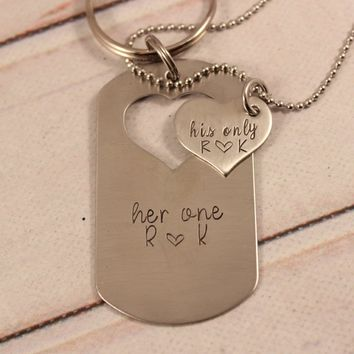 """""""Her One"""" & """"His Only"""" dog tag with heart cut out & Heart set"""