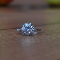 138ct diamond halo ring 14k white gold by EidelPrecious on Etsy