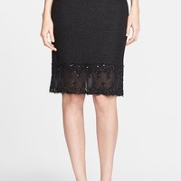 Women's St. John Collection Shimmer Punto Riso Knit Skirt with Beaded Lace Trim