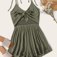 Solid Tie Front Shirred Back Cami Romper