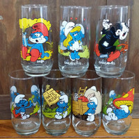 Vintage Smurfs Cartoon Collector Glasses Set of Seven 1980s Peyo Brainy Hefty Grouchy Smurfette Lazy Gargamel Papa Smurf