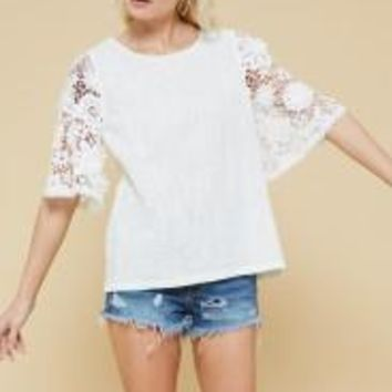 Woven Lace Sleeve Top