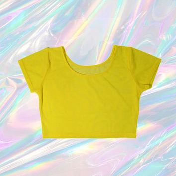 sheer mesh crop top neon yellow tumblr fashion EDC club kid vintage 90s soft pastel grunge