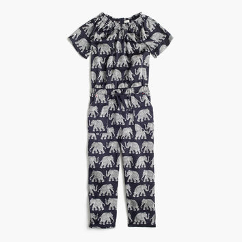 Girls' drapey jumpsuit in elephant print : Girl jumpsuits & rompers | J.Crew