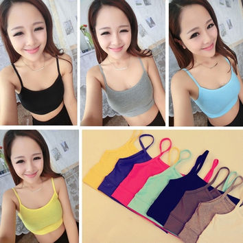 Fashion Women Gym Yoga Sport Exercise Spaghetti Strap Bra Bandeau Tube Vest Tank Tops = 1933043780