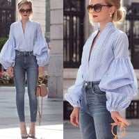 Sexy Women Summer Autumn Top Long puff sleeve Top Donna Ladies plaid Blouse Fashion party casual harajuku blusa feminina shirt