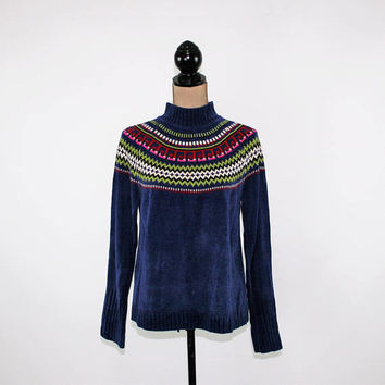 90s Chenille Sweater Women Medium Blue Nordic Pullover Winter Sweater Mock Neck Grunge Sweater Vintage Clothing Womens Clothing