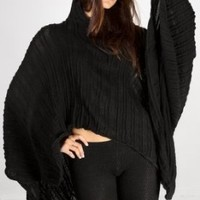 Snow White Poncho Hoodie Flowing Stretch Knit Shadow Stripe by KD dance New York
