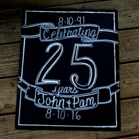 25th anniversary chalkboard, 50th anniversary chalkboard, 25th anniversary decorations, cheers to 25 years, 50 years, wedding anniversary