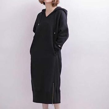 Champion Women Fashion Casual Oversize Hooded Maxi Dress
