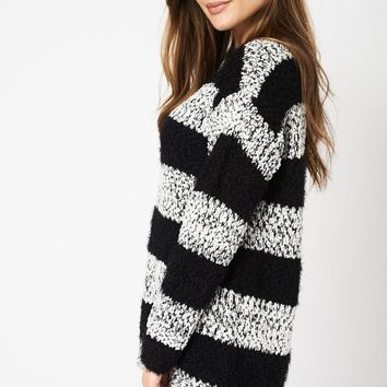 Stripped Fluffy Knitted Jumper