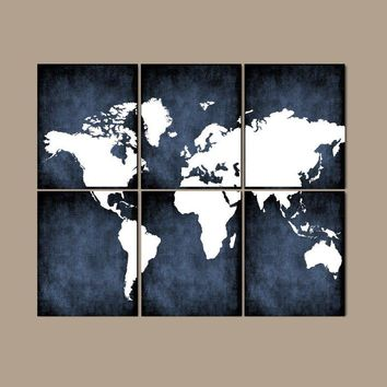 WORLD MAP Wall Art, CANVAS or Prints Bedroom Wall Decor, Grunge Effect, Custom Colors, Desk Office Decor, Library Room, Set of 6, Home Decor